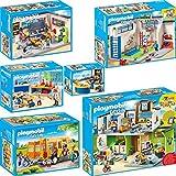 PLAYMOBIL City Life 6er Set 9453 9454 9455 9456 9457 9419 Große Schule mit Einrichtung + Turnhalle...