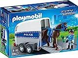 PLAYMOBIL City Action 6922 Polizeipferd mit Anhänger inklusive Reiterin und Zubehör, ab 4 Jahren