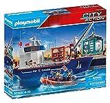 PLAYMOBIL City Action 70769 Großes Containerschiff mit Zollboot und Verladekran (360° drehbar) zum...