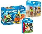 PLAYMOBIL Strassenreiniger 3-teiliges Set: 70203 Kehrmaschine + 70249 Straßenreiniger + 70272...