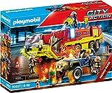 PLAYMOBIL City Action 70557 Feuerwehreinsatz mit Löschfahrzeug, Inkl. Licht- und Soundeffekt, Für...